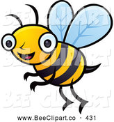 Cartoon Vector Clip Art of a Friendly Happy Honey Bee by John Schwegel
