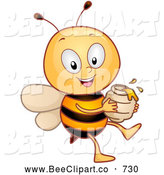 Cartoon Vector Clip Art of a Friendly or Outgoing Happy Honey Bee with a Jar of Honey by BNP Design Studio