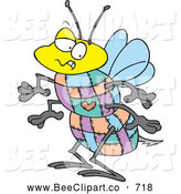 Cartoon Vector Clip Art of a Frightening Quilted Bee with a Sharp Stinger by Toonaday