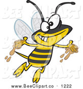 Cartoon Vector Clip Art of a Gleeful Bee with Honey on His Hands by Toonaday