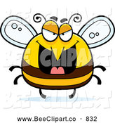 Cartoon Vector Clip Art of a Grinning Evil Bee by Cory Thoman