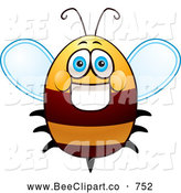 Cartoon Vector Clip Art of a Happy and Friendly Fat Bee by Cory Thoman
