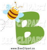 December 28th, 2013: Cartoon Vector Clip Art of a Happy Bee and a Letter B by Hit Toon