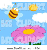 December 2nd, 2013: Cartoon Vector Clip Art of a Happy Bee and a Purple Flower by Hit Toon