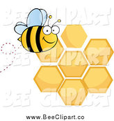 Cartoon Vector Clip Art of a Happy Bee and Honey Combs by Hit Toon