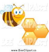 Cartoon Vector Clip Art of a Happy Bee and Honeycombs by Hit Toon