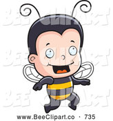 Cartoon Vector Clip Art of a Happy Bee Boy Running to the Right by Cory Thoman