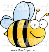 Cartoon Vector Clip Art of a Happy Bee by Hit Toon