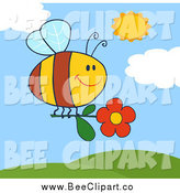 Cartoon Vector Clip Art of a Happy Bee Flying with a Red Daisy by Hit Toon