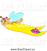 Cartoon Vector Clip Art of a Happy Bee Flying with a Yellow Banner by