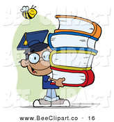 Cartoon Vector Clip Art of a Happy Bee over a Happy Black Graduate School Boy Carrying a Stack of Books by Hit Toon