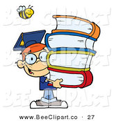 Cartoon Vector Clip Art of a Happy Bee over a Happy Red Haired Graduate School Boy Carrying a Stack of Books by Hit Toon