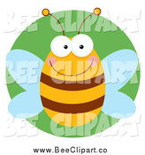 February 6th, 2014: Cartoon Vector Clip Art of a Happy Bee over Green by Hit Toon