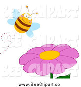 Cartoon Vector Clip Art of a Happy Bee Pollinating a Purple Daisy Flower by Hit Toon