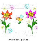Cartoon Vector Clip Art of a Happy Bee Pollinating Colorful Flowers by