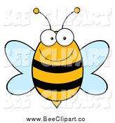 Cartoon Vector Clip Art of a Happy Bee Smiling by Hit Toon
