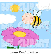 Cartoon Vector Clip Art of a Happy Bee Smiling over a Pink Flower and Sky by Hit Toon