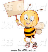 Cartoon Vector Clip Art of a Happy Bee Student Holding a Sign by BNP Design Studio