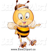 Cartoon Vector Clip Art of a Happy Bee Student Presenting by BNP Design Studio