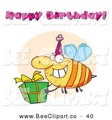 Cartoon Vector Clip Art of a Happy Birthday Text Above a Yellow Bee Wearing a Party Hat and Carrying a Present by Hit Toon