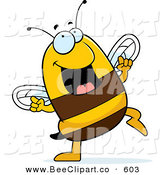 Cartoon Vector Clip Art of a Happy Dancing Bee Looking up by Cory Thoman