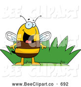 Cartoon Vector Clip Art of a Happy Grinning Bee by Grass by Cory Thoman