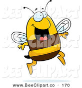 Cartoon Vector Clip Art of a Happy Jumping Bee Looking Right by Cory Thoman