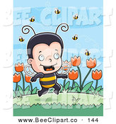 Cartoon Vector Clip Art of a Happy Little Bee Boy with Bees and Tulips by Cory Thoman