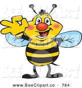 Cartoon Vector Clip Art of a Happy Smiling Bee Character Gesturing Ok by Dennis Holmes Designs