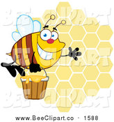 Cartoon Vector Clip Art of a Happy Waving Bee with a Honey Bucket over Honeycombs by Hit Toon