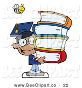 Cartoon Vector Clip Art of a Helpful Bee over a Happy African American Graduate School Boy Carrying a Stack of Books by Hit Toon