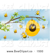 Cartoon Vector Clip Art of a Hive and Happy Bees over Sky by Graphics RF