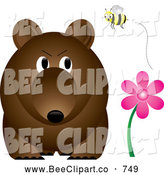 Cartoon Vector Clip Art of a Honey Bee Annoying a Bear by Pams Clipart