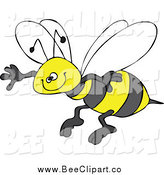 Cartoon Vector Clip Art of a Honey Bee Grinning and Flying by Djart