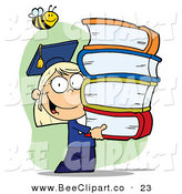 Cartoon Vector Clip Art of a Honey Bee over a Blond Graduate School Girl Carrying a Stack of Books by Hit Toon