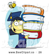Cartoon Vector Clip Art of a Honey Bee over an Asian Graduate School Girl Carrying a Stack of Books by Hit Toon
