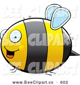 Cartoon Vector Clip Art of a Large Striped Chubby Bumble Bee with Tiny Wings Flying in Profile by Cory Thoman
