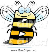 Cartoon Vector Clip Art of a Letter B Bee Flying by Cory Thoman