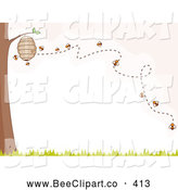 Cartoon Vector Clip Art of a Line of Bees Buzzing Around a Hive on a Tree by BNP Design Studio