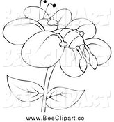 Cartoon Vector Clip Art of a Lineart Tired Bee Resting on a Flower by Djart