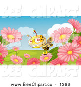 Cartoon Vector Clip Art of a Monster Bee and Flowers by Colematt