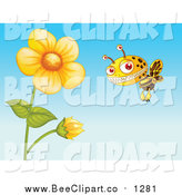 Cartoon Vector Clip Art of a Monster Bee and Flowers by Graphics RF
