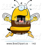 Cartoon Vector Clip Art of a Panicking Bee on White by Cory Thoman