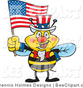 Cartoon Vector Clip Art of a Patriotic Yellow Uncle Sam Bee Waving an American Flag on Independence Day by Dennis Holmes Designs