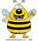 Cartoon Vector Clip Art of a Plump Bee with an Idea on White by Cory Thoman