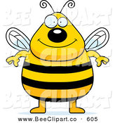 Cartoon Vector Clip Art of a Plump Smiling Bee Standing on His Hind Legs and Looking at the Viewer by Cory Thoman