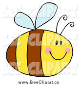 Cartoon Vector Clip Art of a Pudgy Bee Smiling by Hit Toon