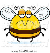 Cartoon Vector Clip Art of a Pudgy Depressed Sad Bee by Cory Thoman