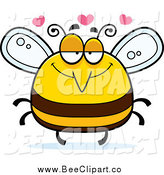 Cartoon Vector Clip Art of a Pudgy Infatuated Bee with Hearts by Cory Thoman