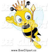 Cartoon Vector Clip Art of a Queen Bee Flying by Yayayoyo